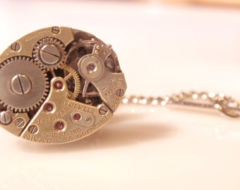 Steampunk Tie Tack, 17 Jewels Tie Tack, Silver and Gold Tone Tie Tack, Soldered, Vintage Watch Face Tie Tack, Groom, Best Man, TC17