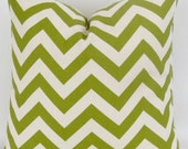 Green Zigzag Cushion Cover -20x20 inch- Citrine Green Chevron Pillow, Green Euro Sham, Decorative Throw, Sumerland Premier Prints, FREE SHIP
