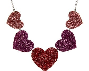 Sparkly Hearts statement necklace - laser cut acrylic