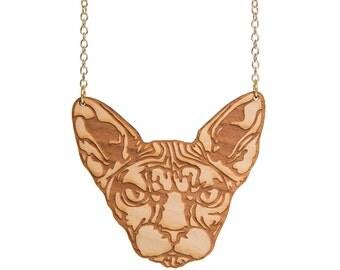 Sphynx Cat necklace - laser cut wood