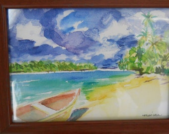 The Beach, Original Watercolor Print, Framed, and signed by Marina