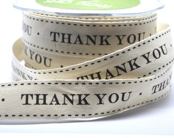 5 yards Thank You cotton ribbon - trim - party favor - scrapbooking - gift wrap - cardmaking
