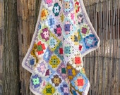 Crochet afghan granny square baby blanket -  colorful, bright and soft
