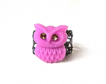 Purple owl ring, purple owl jewelry, filigree ring, gunmetal ring, adjustable ring