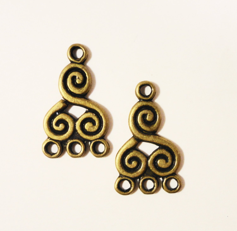 Bronze chandelier earring findings 21x13mm antique brass metal bronze chandelier earring findings 21x13mm antique brass metal swirl spiral 3 to 1 earring connector jewelry making jewelry findings 6pcs aloadofball Gallery