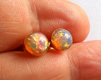 Pink fire opal gold stud earrings 6mm harlequin vintage cabochons