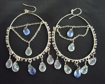 Loop Hanging Earrings Silver with Aquamarine and Clear Crystal tear drops Dangle and glass beads on side  handmade Belly Dancers delight