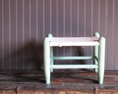 Vintage Mint Green Chippy Paint Stool for Beach or Cottage Chic Decor