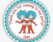 Dr Seuss Thing 1 and Thing 2 - Personalized Stickers, Party Favor Tags, Thank You Tags, Gift Tags, Address labels, Birthday, Baby Shower