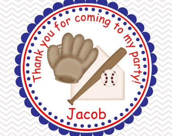 Baseball - Personalized Stickers, Party Favor Tags, Thank You Tags, Gift Tags, Address labels, Birthday, Baby Shower