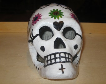 Day of the Dead Handmade Painted Decorated Mexican Paper Mache Skull