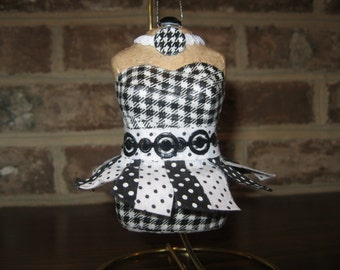 I Love the 80's Black and White Washi Tape Decoupage Paper Mache Mannequin Ornament