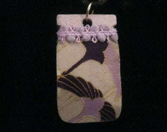 Lavender Mason Jar Double Sided Wooden Pendant Decoupage Swan and Floral Origami Paper on Satin Cord