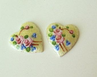 2 Vintage Guilloche Enamel Heart Cab Cabochon Findings