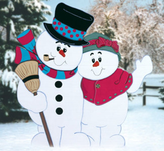 Outdoor Wooden Christmas Yard Decorations: Christmas Outdoor Snowman Couple Wood Yard Art Lawn By