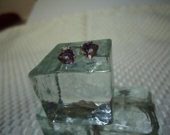Trillion Cut Amethyst Earrings in Sterling Silver   #1169
