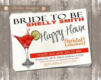 Happy Hour Bridal Shower Invite (Splashing Martini) DIGITAL FILE