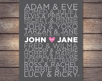 Famous Couples Print : DIGITAL FILE — Personalized names