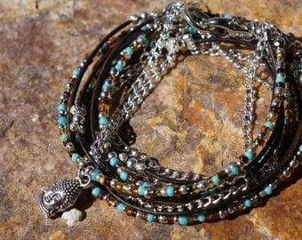 Boho Endless Leather Wrap Bracelet - Buda, Nature's Gold, Layered Bohemian