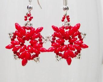 Red Seed Bead Earrings, Star Earrings, Beaded Poinsettia Earrings, Bead Embroidery Earrings