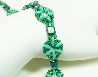 Turquoise Bead Weaving Bracelet, Crystal and Seed Bead Bracelet, Woven Bracelet