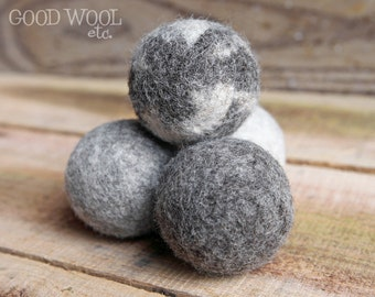 wool dryer balls - natural jacob sheep fleece - organic - set of four
