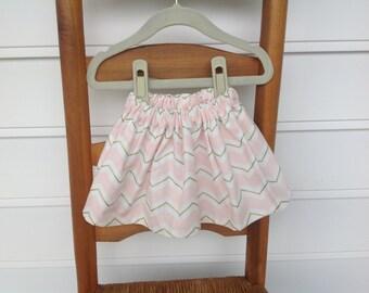 Pink and Gold Chevron Baby Skirt...Pink Chevron Toddler Skirt... Pink Baby Skirt.. Pink Toddler Skirt