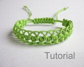 Bracelet pattern macrame tutorial pdf green adjustable clasp jewelry step by step micro diy christmas instant download micro