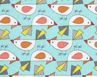 Michael Miller Birds of a Feather by Mark Hordyszynski Tweet in Aqua by the Yard