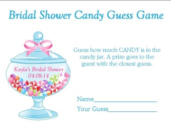 24 Personalized CANDY GUESS Bridal Shower Game