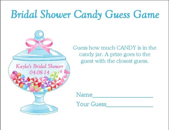 24 personalized candy guess bridal shower game. Black Bedroom Furniture Sets. Home Design Ideas