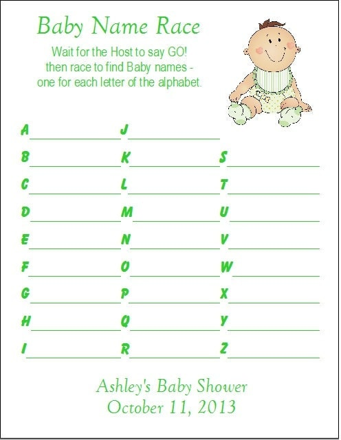 24 Personalized BABY NAME RACE Baby Shower Game