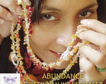 Abundance Crystal Healing Necklace - Chakra Harmonising Crystal Necklace Citrine, Carnelian, Red Agate, for Money, Wealth
