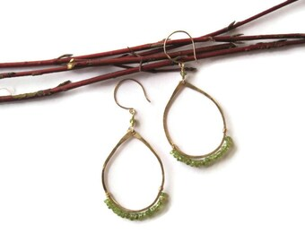 14k gold filled tear drop hoops with hand wrapped  lovely peridot rondelles