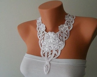 BIG DISCOUNT Necklace -Free Shipping Wedding White Laced Necklace, Bridesmaid Accessories, Woman Applique , Graduation accessories,Prom