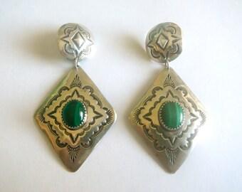 Vintage Navajo Long Sterling Silver Malachite Earrings SIGNED Albert Platero