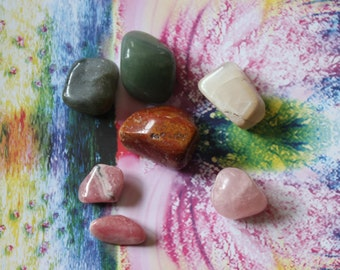 HEAL EMOTIONAL WOUNDS / Healing Crystal Set /  Release Childhood traumas / Heal from Abuse / Heart Chakra
