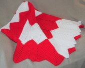 Red and White Chevron Afghan