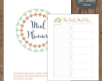 Meal Planner // Organization Printable // Shopping List // Inventory // Gift Giving List // Recipe Card // Floral