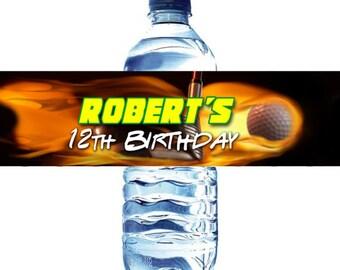 Golf Water Bottle Label Digital File - Golf in One water bottle label DIY - Fire Golf Ball Water Bottle label - Golf ball in fire water lab