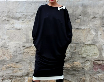 Black Maxi dress, Plus size dress, Fall Winter Dress, Oversized dress, Midi Dress, Party dress, Caftan, Elegant dress
