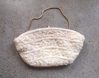 CLEARANCE vintage white and ivory beaded and sequined purse
