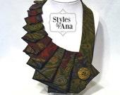 SALE 25% OFF  Woodland - Unique Repurposed Necktie Art Accessory Necklace/Trendy Collar, Button Art, Fabric Statement Necklace Silk Necktie