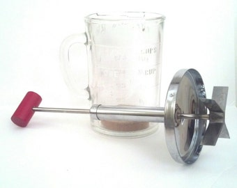 Food Chopper Glass Measuring Cup and Metal Pamco 12 Ounces  Unused