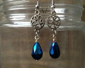 Blue Teardrop Dangle Earrings * 25% off Sale!