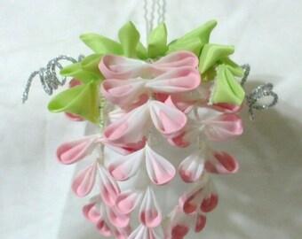 mini pink maiko wisteria - tsumami kanzashi hair flower