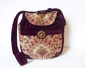 "Boho Gypsy Tapestry Medieval Renaissance Art Deco Bag Purse ""Camryn"" Hippie Vintage Oriental Velvet Burgundy Ornaments Ethnic 70s Multicolor"
