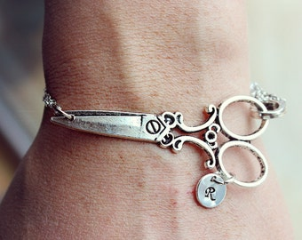 Scissors Personalized Initial Bracelet Antique Silver