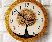 The Magic Tree Wall Clock, Modern wall clock, White wall clock, wood clock, white home decor, wedding gift, for Office, bedroom style.