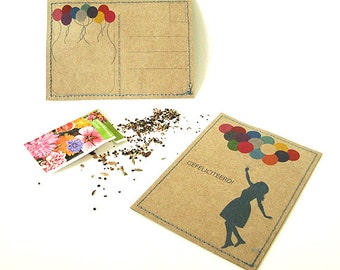 SALE - Card - Gefeliciteerd! - with a balloon girl print, handmade and filled with a sachet of flowerseeds